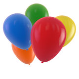 Party Balloons. Balloons of different colors isolated on white. Clipping path included for easy selection Stock Photos