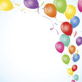 Party balloons floating out from corner Royalty Free Stock Photos