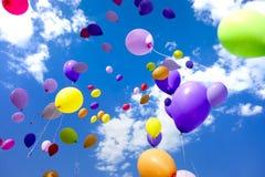 Party Balloons Flying Sky Stock Photos