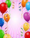 Party Balloons Girl Background. Colorful party balloons girl background with streamers and confetti. Eps file available Royalty Free Stock Photos
