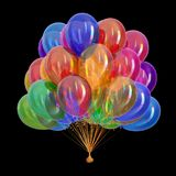 Party balloons glossy multicolor. colorful helium balloon bunch. Birthday decoration, festive different colors carnival background. 3d illustration, isolated on Royalty Free Stock Images