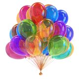 Party balloons glossy multicolored. colorful helium balloon bunch. Birthday decoration. festive background, carnival symbol varicoloured. 3d illustration Stock Image