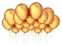 Party balloons golden fluing up. happy birthday decoration. Party balloons golden flying up. happy birthday decoration luxury yellow. group of helium balloon Stock Photos