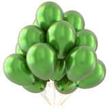 Party balloons green happy birthday decoration glossy Stock Images