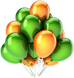 Party balloons green orange Royalty Free Stock Image