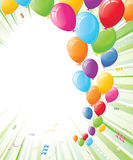Party Balloons on Green Rays of Light Royalty Free Stock Image