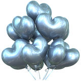 Party balloons happy birthday event decoration silver heart shaped Royalty Free Stock Image
