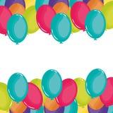 Party balloons helium floating frame stock illustration