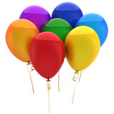 Party balloons (Hi-Res). Seven shiny multicolor (red, orange, purple, blue, cyan, yellow, green) helium balloons. Strong reflections. This is a detailed 3D stock illustration
