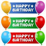 Party Balloons Horizontal Banners. A collection of three happy birthday horizontal banners with colorful party balloons on blue, green and red background. Eps Royalty Free Stock Photos