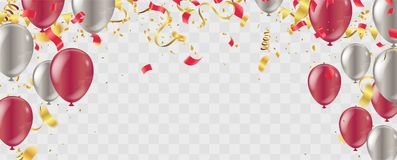 Party balloons illustration. Confetti and ribbons flag ribbons, Merry Christmas Party xmas Poster and Happy New Year. Eps vector illustration