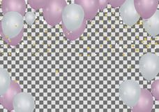 Party balloons illustration. Confetti and ribbons flag ribbons, Merry Christmas Party xmas Poster and Happy New Year. Eps royalty free illustration