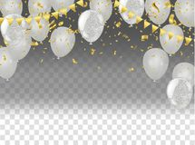 Party balloons illustration. Confetti and ribbons flag ribbons, Merry Christmas Party xmas Poster and Happy New Year. Eps stock illustration