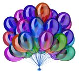 Party balloons multicolored birthday glossy decoration. Holiday balloon bunch colorful. festive celebration different colors symbol. 3d illustration Stock Photo