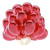 Party balloons red birthday decoration glossy. Helium balloon bunch shiny. holiday, anniversary celebration, invitation greeting card design element. 3d Royalty Free Stock Photos