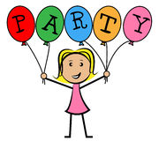 Party Balloons Represents Young Woman And Kids. Party Balloons Indicating Cheerful Celebration And Youngsters Stock Photo