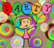 Party Balloons Represents Young Woman And Kids Stock Images