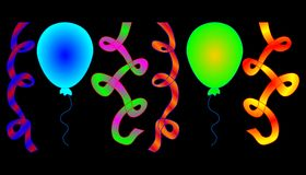 Party balloons and ribbons in psychedelic colors Stock Photography