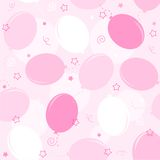Party balloons seamless pattern. Pink party balloons with confetti seamless pattern for baby girl backgrounds Royalty Free Stock Image