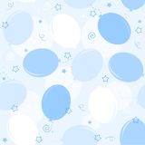 Party balloons seamless pattern. Blue party balloons with confetti seamless pattern for baby boy backgrounds Royalty Free Stock Photos