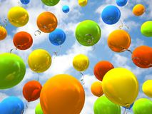 Party balloons in sky. 3D rendering Royalty Free Stock Photo