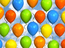 Party balloons in sky. 3D rendering Royalty Free Stock Images