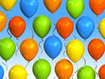 Party balloons in sky. 3D rendering Royalty Free Stock Image
