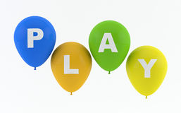 Party balloons spelling Play. On white background royalty free illustration