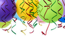 Party balloons and streamers. Bunch of colorful party balloons and streamers shot on white stock photos