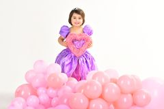 Party balloons. Valentines day. Happy birthday. Kid fashion. Little miss in beautiful dress. Childhood and happiness
