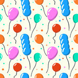 Party baloon seamless pattern. Cartoon balloons celebration white background. Vector illustration Stock Images