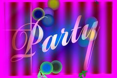 Party Banner. Banner design of the word Party with decoration elements Stock Photo