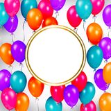 Party banner with balloons and space for text. Square banner, poster design with shiny balloons and empty round space for text, realistic vector illustration Royalty Free Stock Images