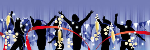 Party banner blue Royalty Free Stock Image