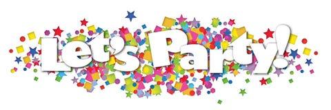 Party Banner Confetti Art Logo. Party Banner Logo Art Invitation Flyer Announcement Birthday Greetings Confetti Fun Colorful Stars Paper vector illustration