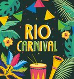 Party banner with drum and trumpet to carnival. Vector illustration royalty free illustration