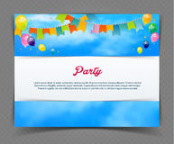 Party banner with flags and ballons Royalty Free Stock Photos