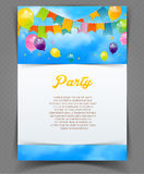 Party banner with flags and ballons Royalty Free Stock Images