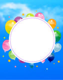 Party banner with flags and ballons Stock Photo