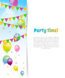 Party banner with flags and balloons Stock Photos