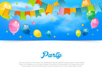 Party banner with flags and balloons Stock Photography