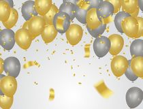 Party banner with golden balloons and serpentine gold confetti. Isolated on a transparent background. EPS 10 Stock Images