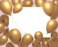 Party banner with goled balloons on white background and place for text. Happy birthday cards design. Festive or present. 3d rendering decoration concept royalty free illustration