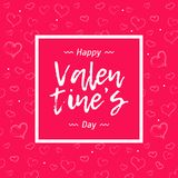 Party banner with lipstick heart border on pink color background. Text Happy Valentine`s Day Royalty Free Stock Image