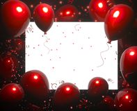 Party banner with red balloons on black background and place for text. Happy birthday cards design. Festive or present. Party banner with balloons on black royalty free illustration
