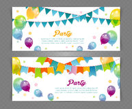 Party banners with flags and ballons Stock Photography