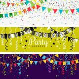 Party banners with garland of colour flags and confetti.. Party banners with garland of colour flags and confetti. Happy festive celebration background vector Stock Images