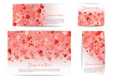 Party banners with hearts confetti Stock Image