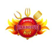 Party Barbecue Hot BBQ Icon Vector Illustration. Party barbecue hot BBQ isolated icon vector and text. Barbeque frying pan with spatula and forks. Cutlery and stock illustration
