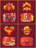 Party Barbecue Set of Posters Vector Illustration. Party barbecue hot set of posters with people eating roasted food. Hamburgers and fried sausages, frankfurters royalty free illustration
